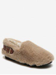 Contrast Buckle Fuzzy Loafer Shoes -