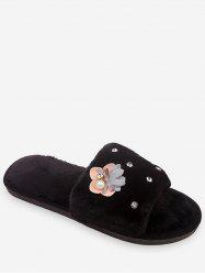 Flower Rhinestone Fuzzy Slippers -