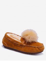 Fuzzy Ball Suede Loafer Shoes -