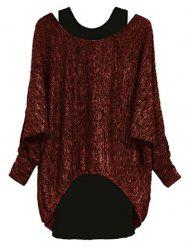 Plus Size Asymmetric Long Sleeves T Shirt with Tank -