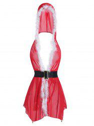 Plus Size Open Back Hooded Christmas Lingeries Babydoll -
