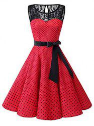 Polka Dot Lace Panel Plus Size Vintage Dress -