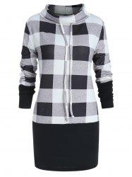 Cowl Neck Plus Size Plaid Panel Sweatshirt -