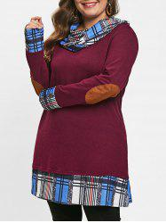 Cowl Neck Long Sleeve Plaid Hem Plus Size Tunic T-shirt -