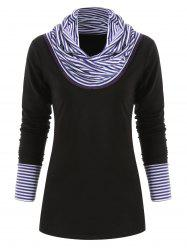 Striped Panel Long Sleeve Top -
