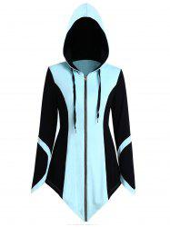 Color Block Drawstring Asymmetric Zip Up Hoodie -