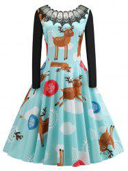Plus Size Vintage Christmas Elk Flare Dress with Lace -