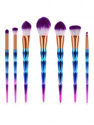7 Pcs Soft Purple Hair Cosmetic Brush Suit -