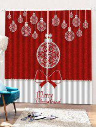 2 Panels Christmas Balls Bowknot Print Window Curtains -