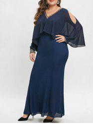 Open Shoulder Plus Size Sequin Embellished Maxi Dress -
