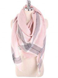 Checked Fringed Soft Long Scarf -