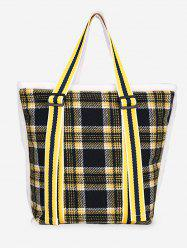 Plaid Pattern Large Capacity Tote Bag -