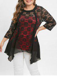 Plus Size Cami Top and Sheer Lace Irregular Blouse -