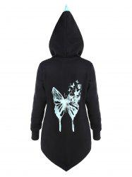 Colorblock Butterfly Print Asymmetric Hoodie -