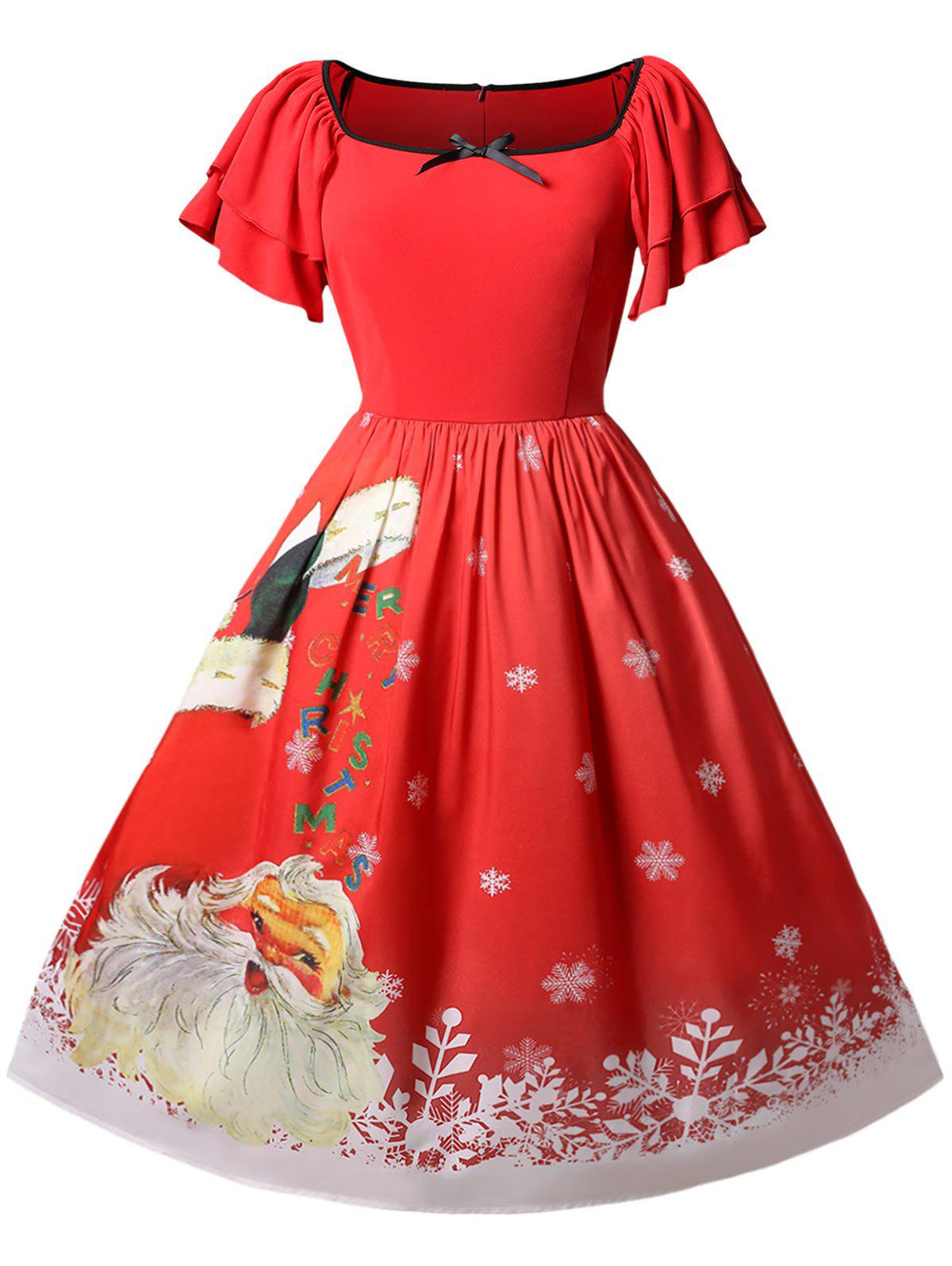 Latest Christmas Plus Size Santa Claus Print Vintage Dress