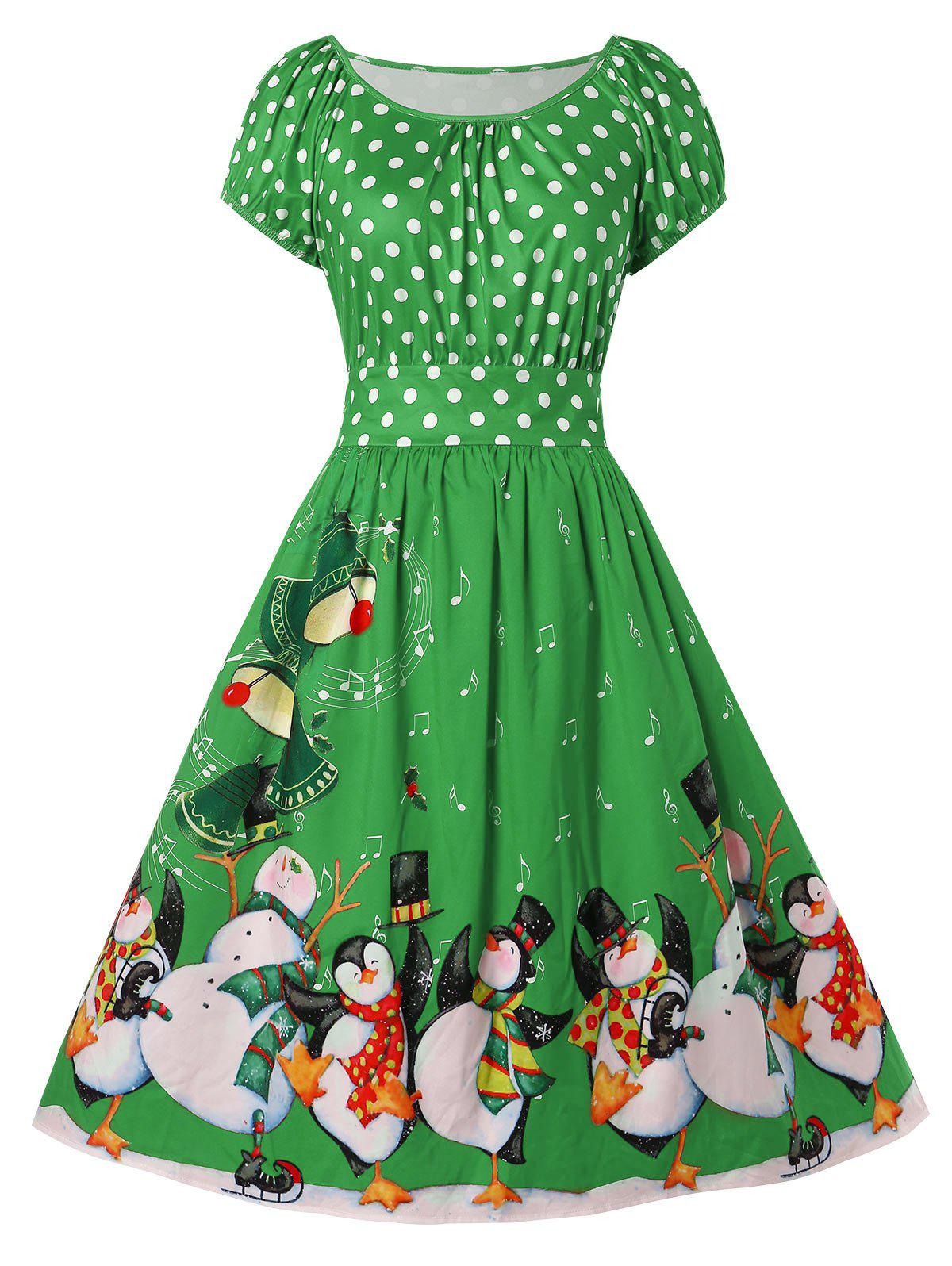 Chic Christmas Plus Size Penguin Print Flare Dress