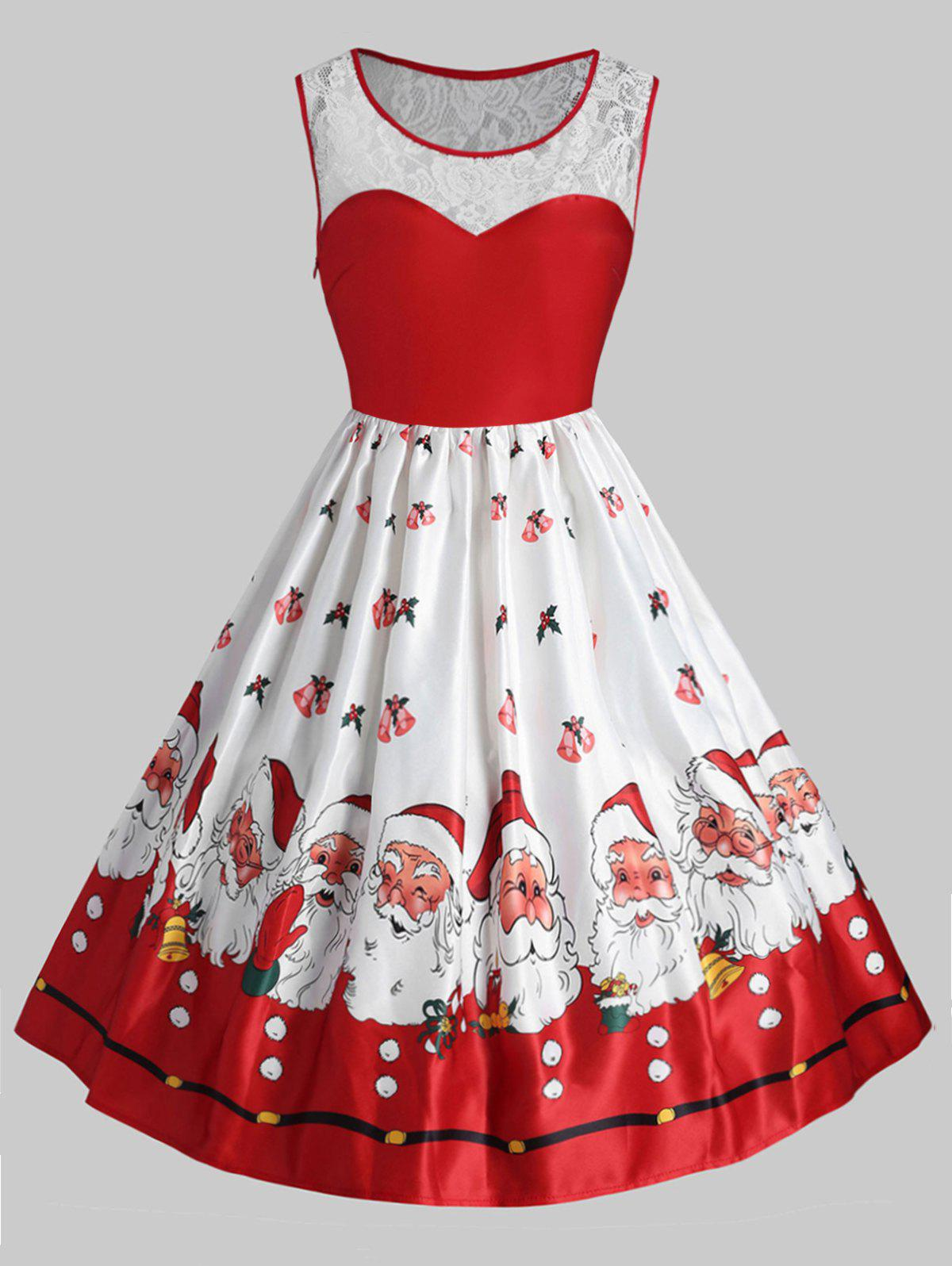 Shops Plus Size Vintage Lace Panel Christmas Santa Claus Dress