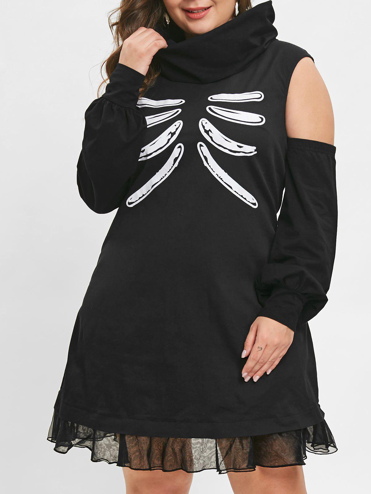 Store Plus Size Skull Bone Halloween Dress