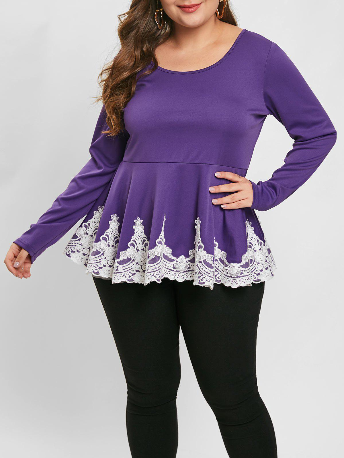 Sale Plus Size Long Sleeve Lace Panel Peplum Top