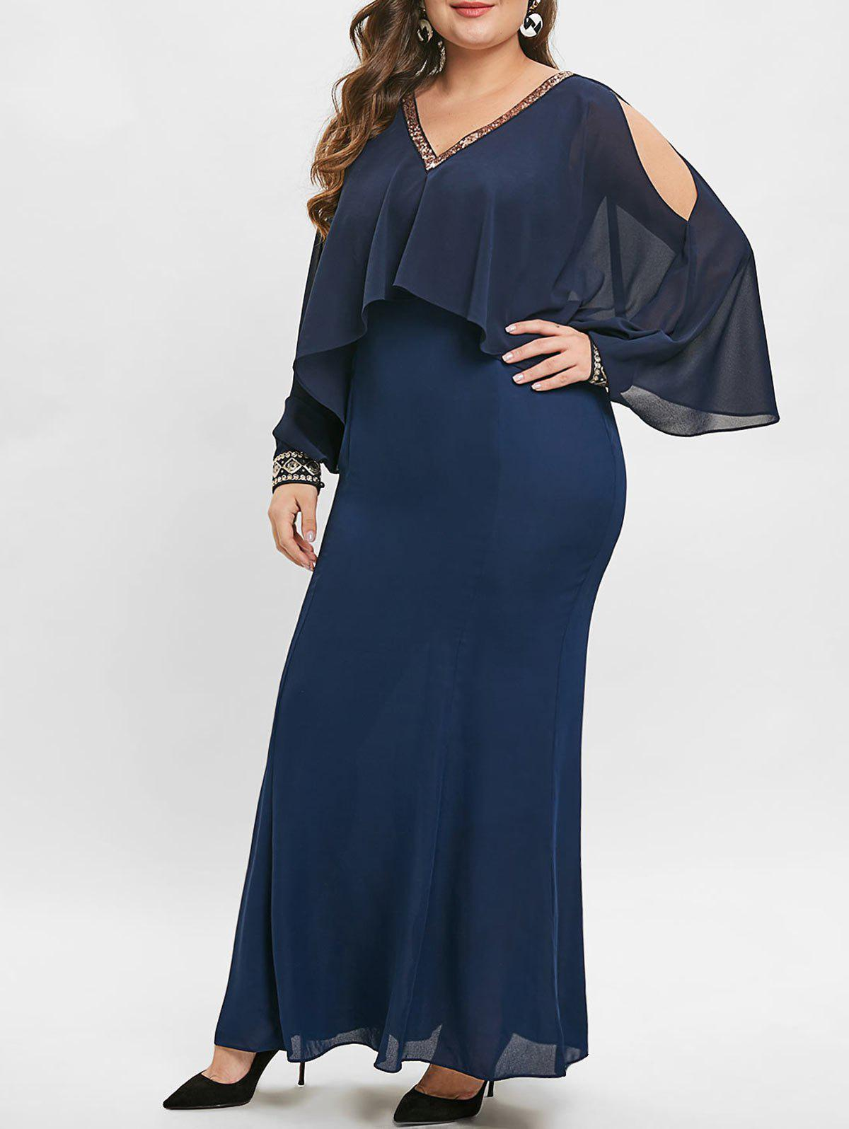 Hot Open Shoulder Plus Size Sequin Embellished Maxi Dress