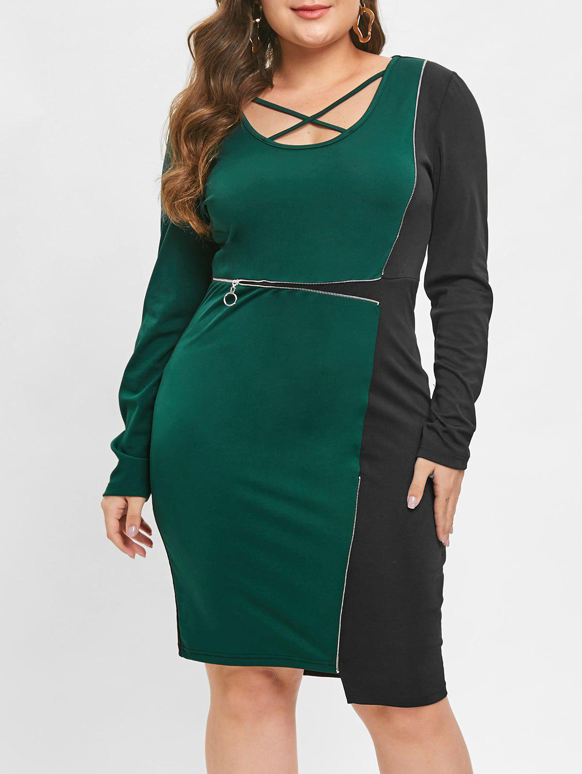 Sale Criss Cross Contrast Bodycon Dress