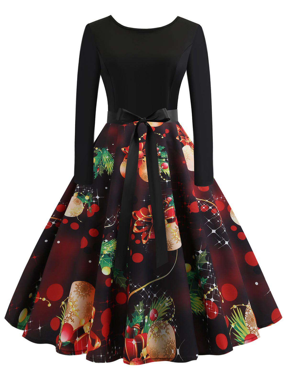 Chic Vintage Long Sleeves Printed Pin Up Dress