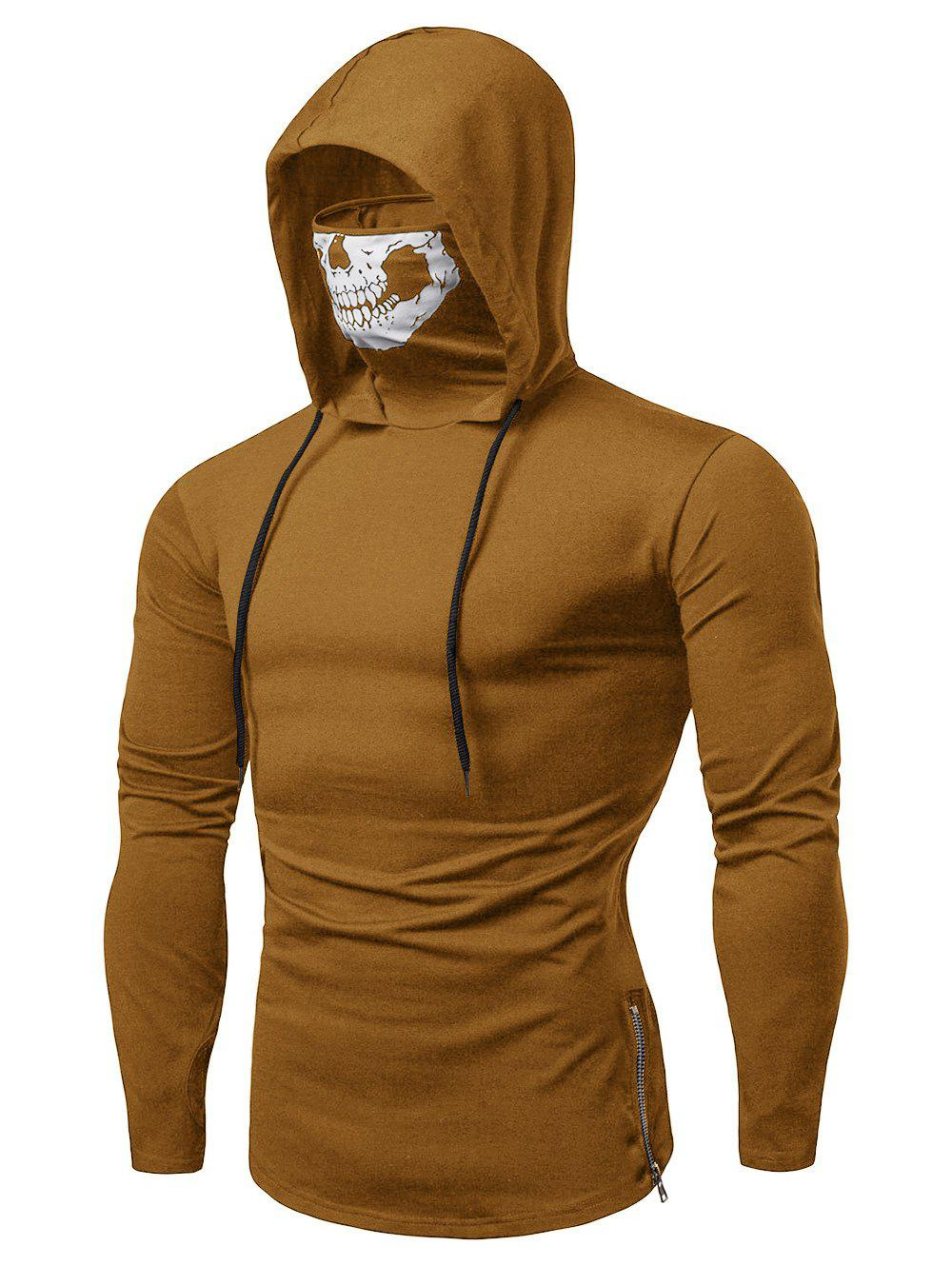 Shop Drawstring Zipper Skull Mask Hoodie