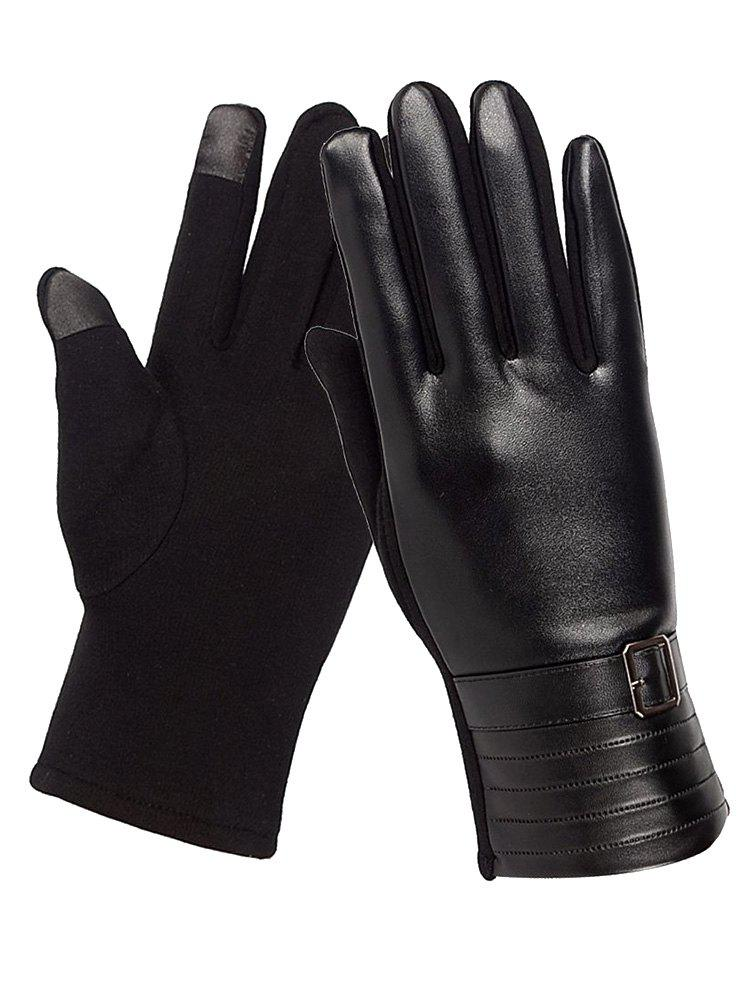 Affordable Square Bucket Faux Leather Biker Gloves