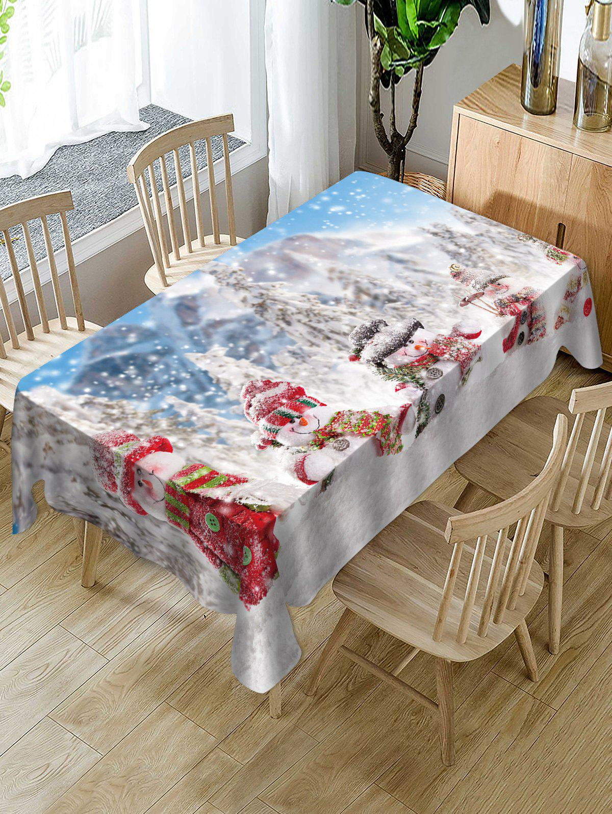 Best Snowmen and Snow Scenery Print Christmas Table Cloth
