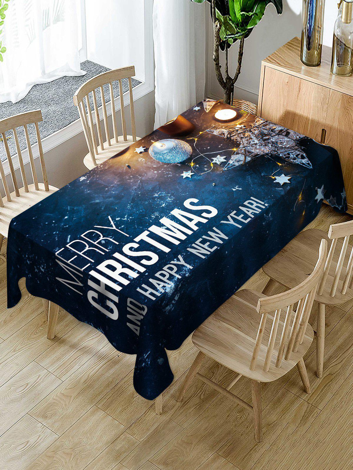 Sale Galaxy and Christmas Letters Print Table Cloth