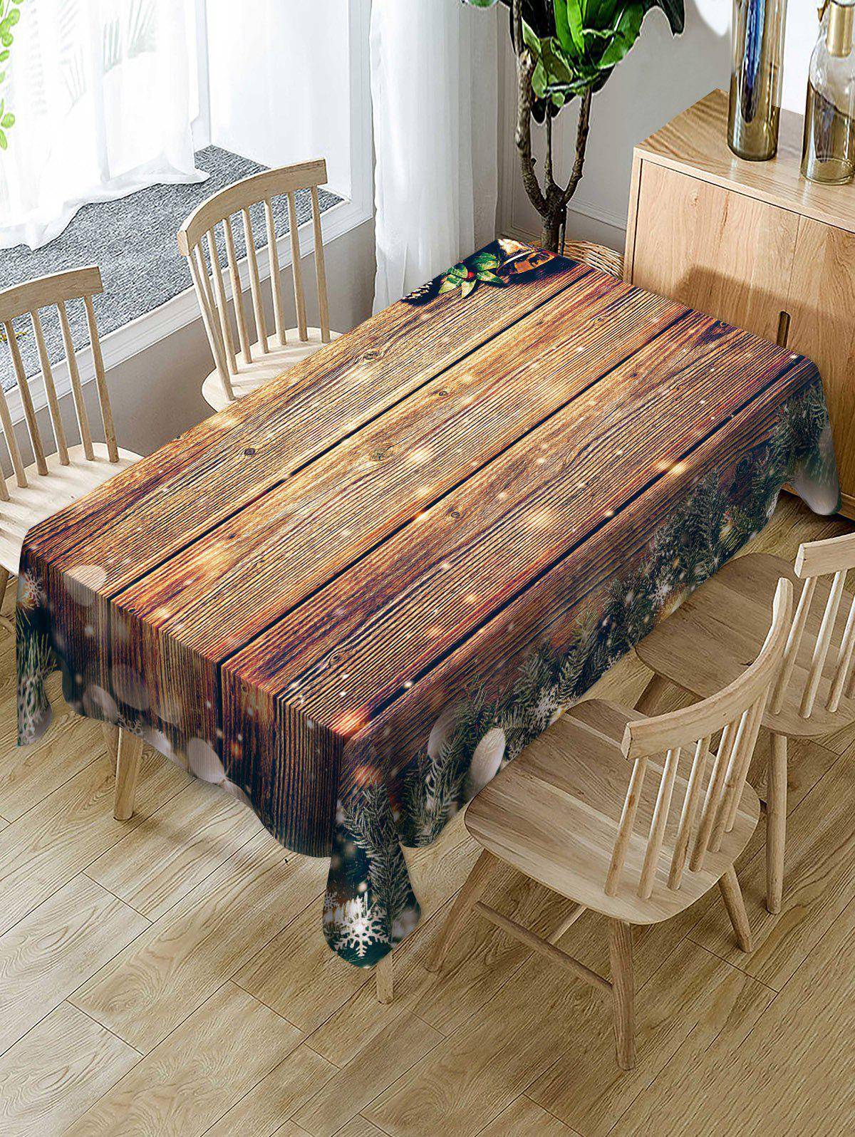 Discount Wood Grain Christmas Snowflakes Baubles Printed Table Cloth