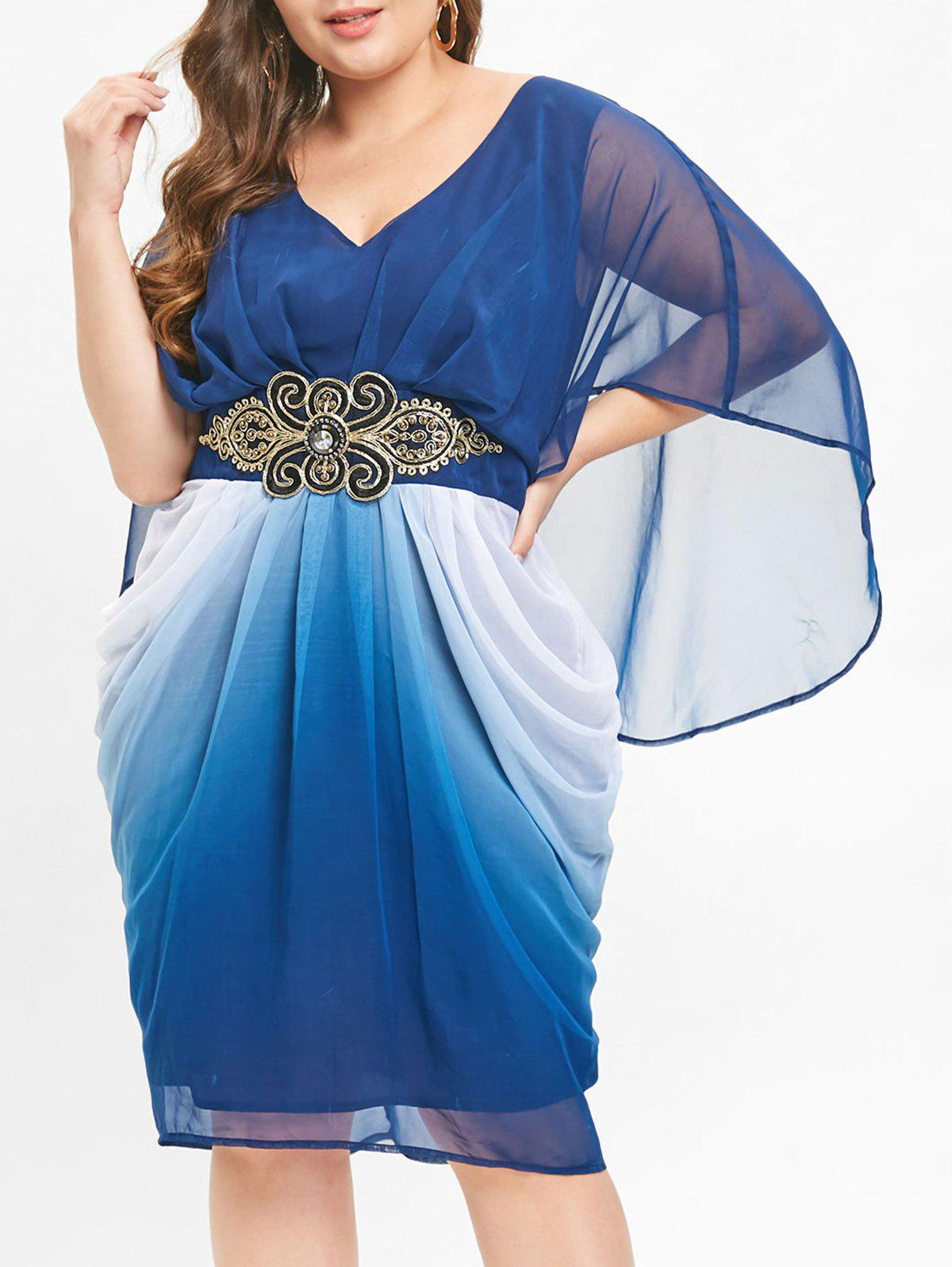 Latest Belted Embellished Plus Size V Neck Knee Length Dress
