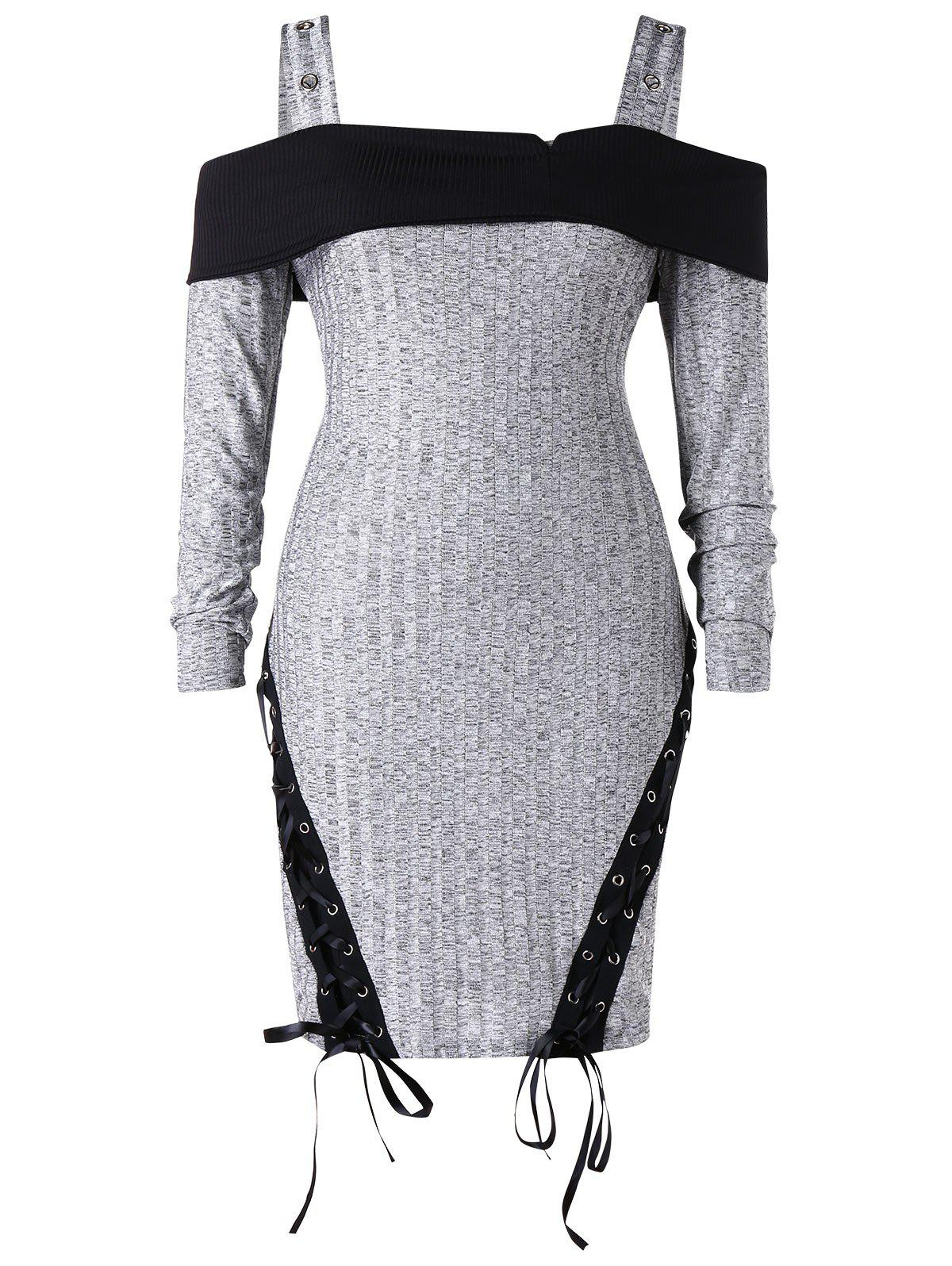 Outfit Plus Size Cold Shoulder Lace Up Knitted Bodycon Dress