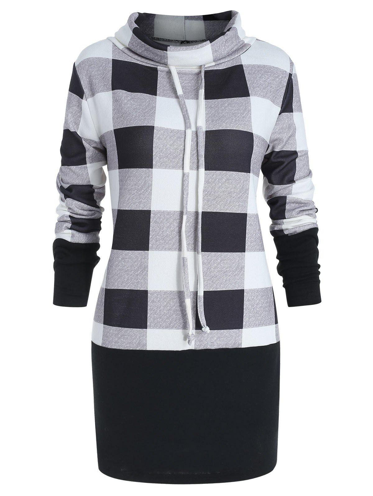 Cheap Cowl Neck Plus Size Plaid Panel Sweatshirt