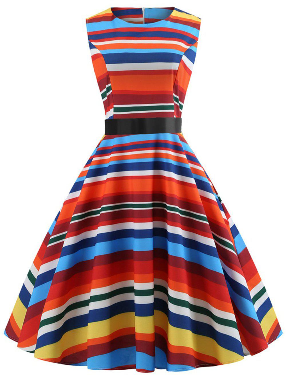 Online Plus Size Striped Vintage Fit and Flare Dress