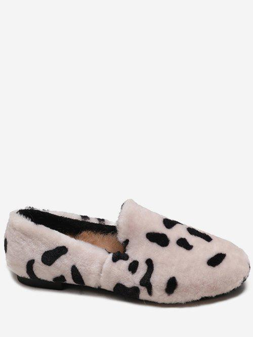 Fashion Leopard Print Fluffy Slip On Shoes
