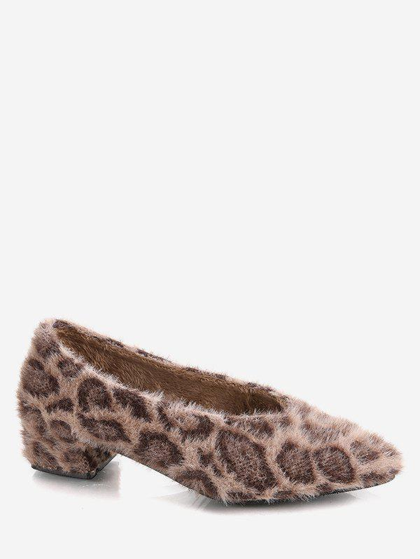 dc2ce9667fb9a Pointed Toe Leopard Print Fuzzy Shoes