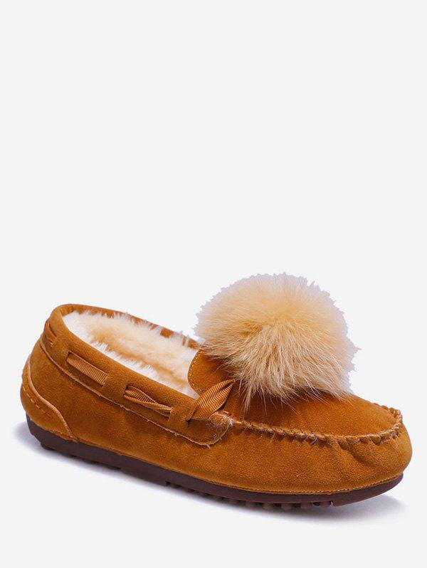 Unique Fuzzy Ball Suede Loafer Shoes