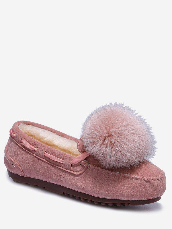 Affordable Fuzzy Ball Suede Loafer Shoes