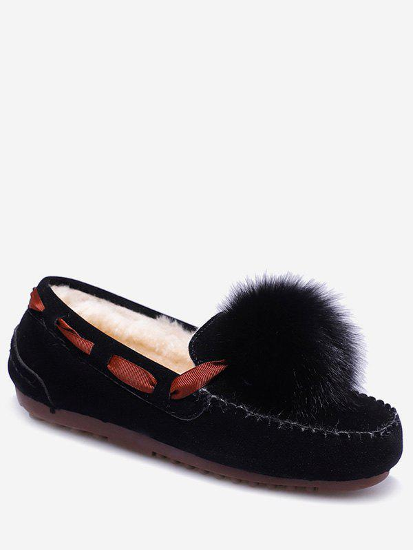 Chic Fuzzy Ball Suede Loafer Shoes