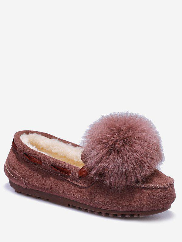 Shops Fuzzy Ball Suede Loafer Shoes