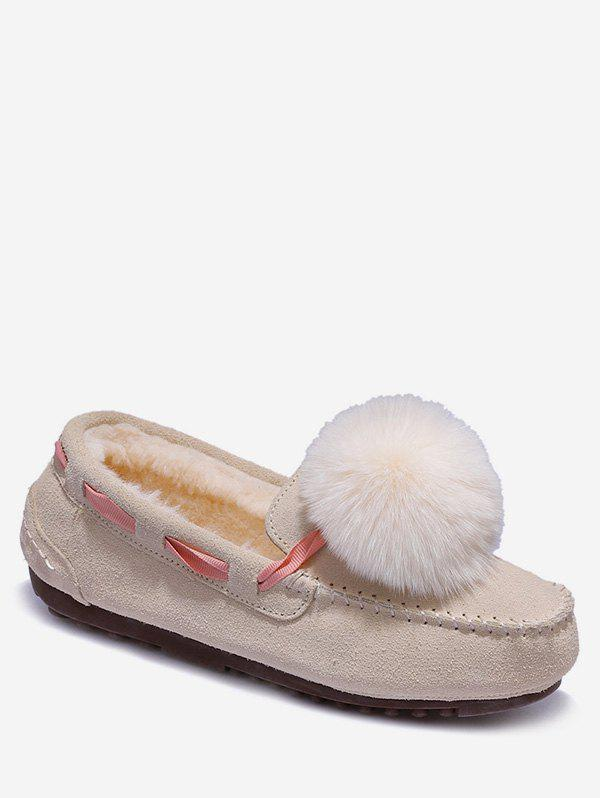 New Fuzzy Ball Suede Loafer Shoes