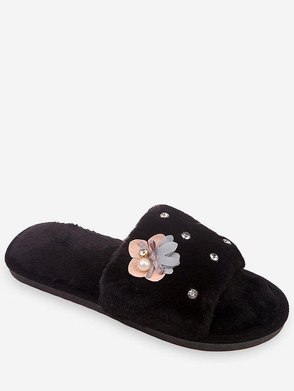 Affordable Flower Rhinestone Fuzzy Slippers