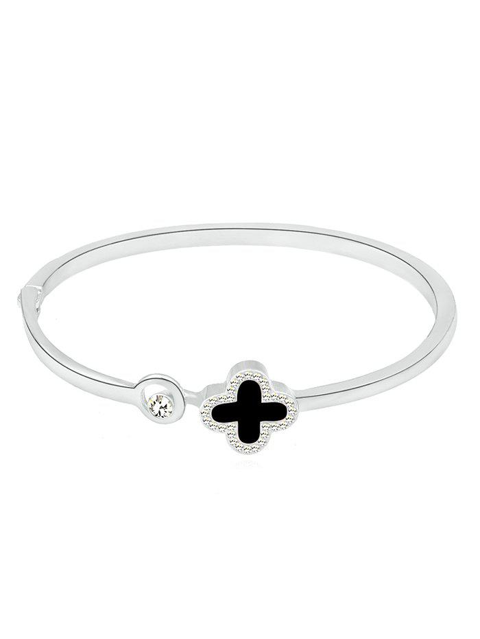 Outfit Clover Shape Faux Crystal Inlaid Bracelet