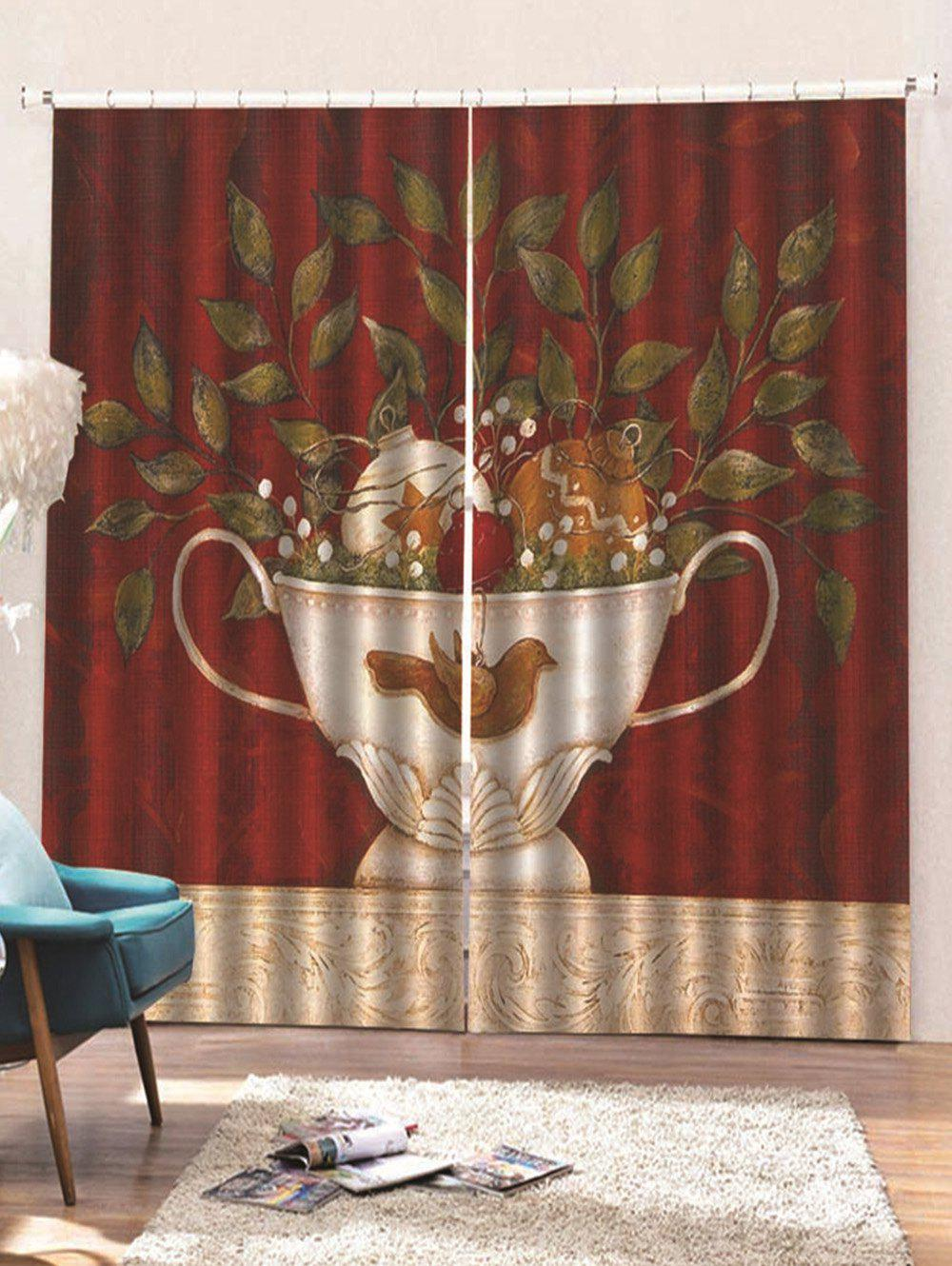 Fancy 2 Panels Christmas Potted Plant Print Window Curtains