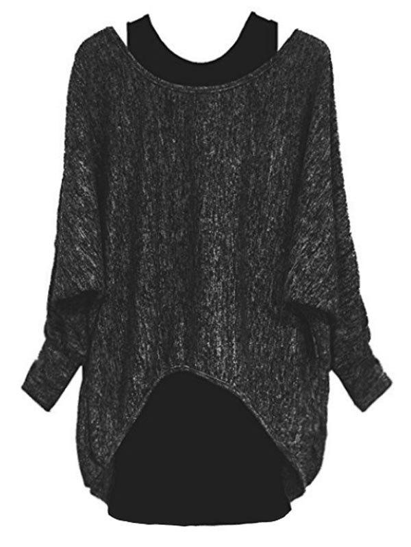 Shop Plus Size Asymmetric Long Sleeves T Shirt with Tank