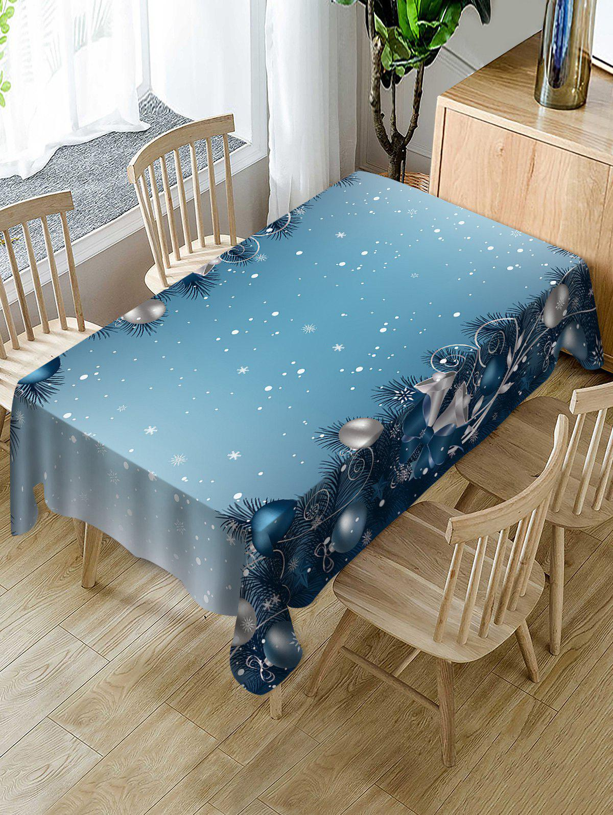 Unique Christmas Baubles Snowflakes Printed Table Cloth