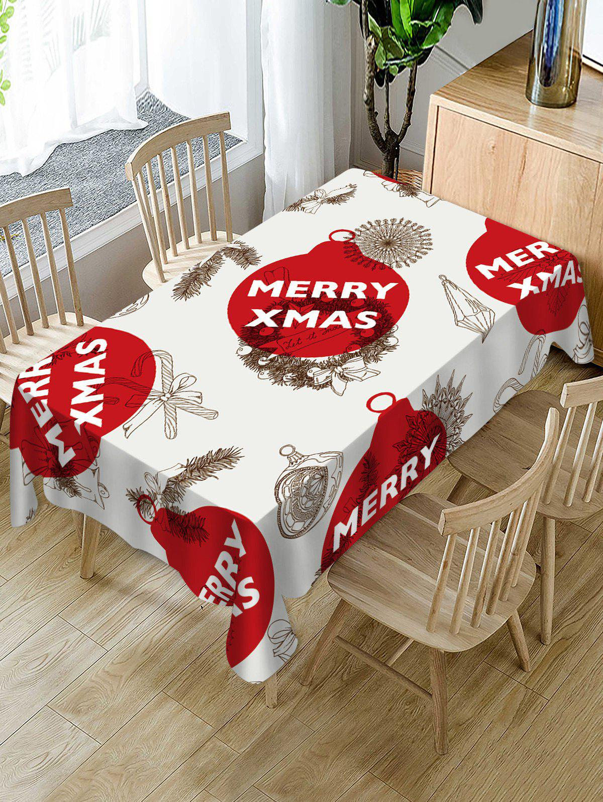 Fashion Christmas Balls Candy Print Table Cloth