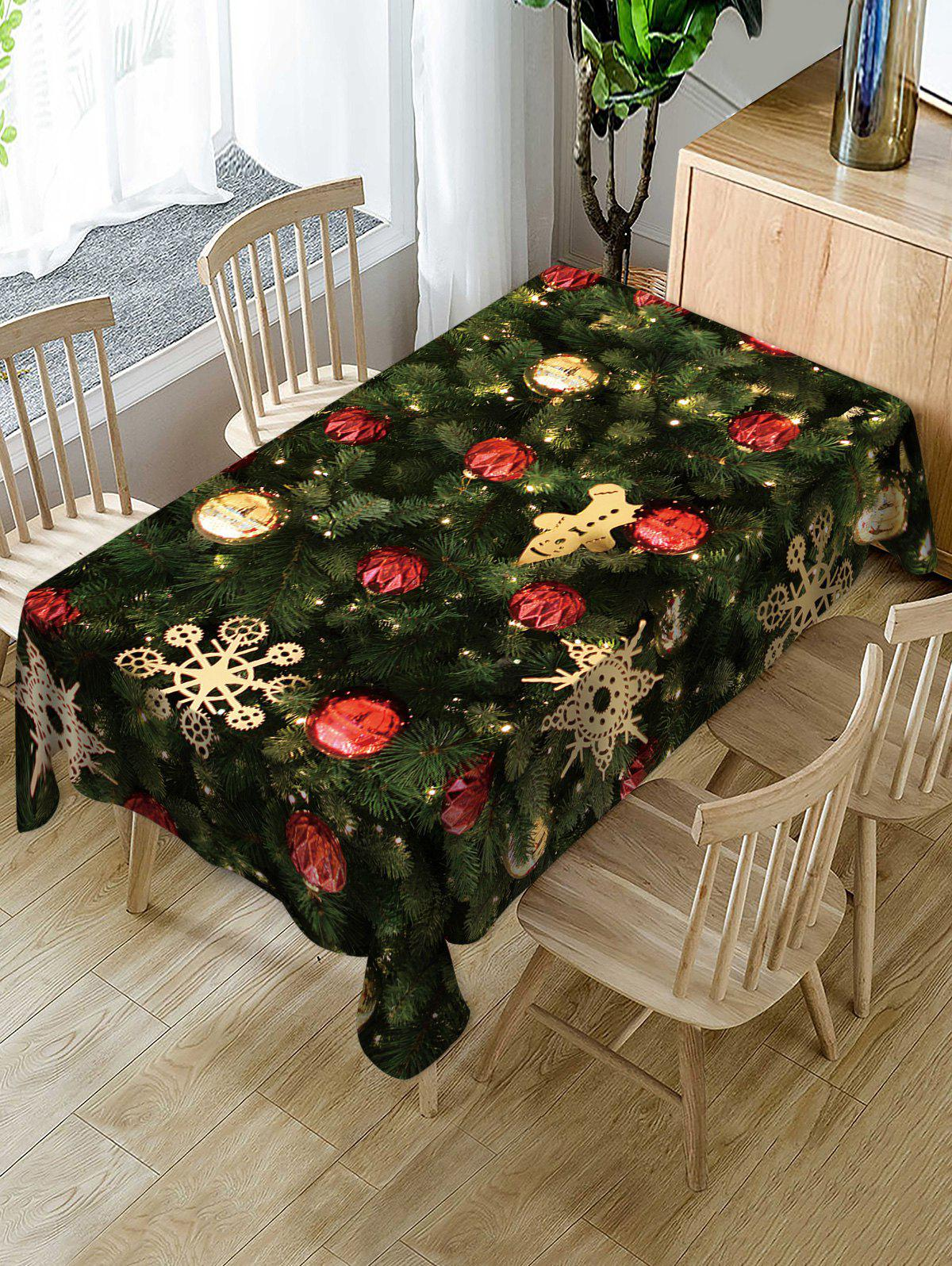 Trendy Christmas Tree and Baubles Printed Table Cloth