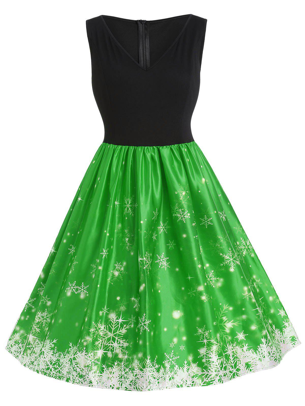 Fancy Plus Size Christmas Snowflake Vintage Flare Dress